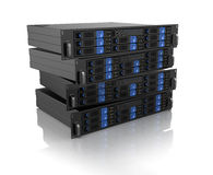 Computer server unit. Stack of computer server units on white background Royalty Free Stock Photos