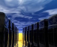 Computer Servers. Abstract representation of computer servers under blue sky and sunrise Stock Photography