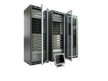 Computer servers. 3d computer servers on the white background Stock Photography