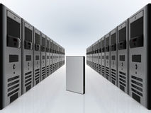 Computer servers and DVD software case Royalty Free Stock Photos