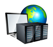 Computer servers and globe Stock Photo