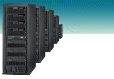 Computer servers on a grid Stock Photography