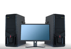 Computer servers and lcd monitor. Technology concept stock illustration