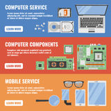 Computer Service Banner Set Stock Images