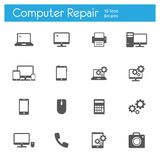 Computer service flat gray icons set of 16. On white background Royalty Free Stock Photos