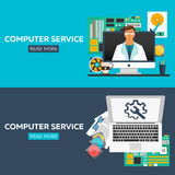 Computer service flat illustration concepts set. Flat design concepts for web banners, web sites, printed materials, infographics. Stock Photo