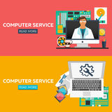 Computer service flat illustration concepts set. Flat design concepts for web banners, web sites, printed materials, infographics. Royalty Free Stock Image