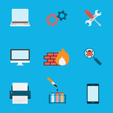 Computer Service Icons Flat. Editable EPS vector format Royalty Free Stock Image