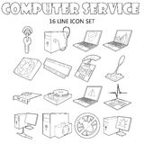 Computer service icons set, outline style Royalty Free Stock Photo