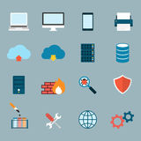 Computer Service and Maintain Icons Flat Royalty Free Stock Photo