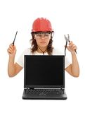 Computer service personnel stock photo