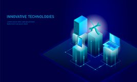 Computer service repair isometric. 3d blue flat technical support screwdriver future modern banner business technology. Process PC test diagnostic infographic Royalty Free Stock Photography