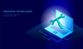 Computer service repair isometric laptop. 3d blue flat technical support screwdriver future modern banner business Royalty Free Stock Images
