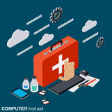 Computer service, repair, technical support, first aid vector concept. Computer service, repair, technical support, first aid flat 3d isometric vector concept Royalty Free Stock Image