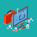 Computer service, repair, technical support vector concept. Computer service, repair, technical support, first aid flat 3d isometric vector concept Stock Image