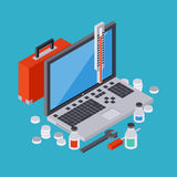 Computer service, repair, technical support vector concept. Computer service, repair, technical support, first aid flat 3d isometric vector concept illustration Stock Images