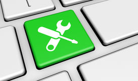 Computer Service Work Tools Key. Computer repair service concept with work tools icons and symbol on a computer keyboard Royalty Free Stock Photos