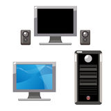 Computer set. Illustration of a set consist of an off and on lcd monitor, two speakers and a computer case, isolated on white.Useful as icons.EPS file available Royalty Free Stock Photography