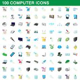 100 computer set, cartoon style. 100 computer set in cartoon style for any design illustration royalty free illustration