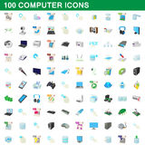 100 computer set, cartoon style Stock Images