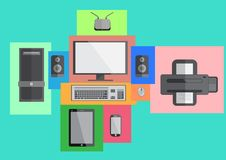 Computer set smart phone and tablet flat design. Vector. Illustration royalty free illustration