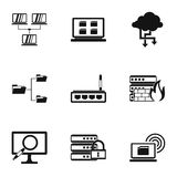 Computer setup icons set, simple style. Computer setup icons set. Simple illustration of 9 computer setup vector icons for web Stock Images