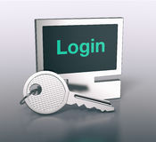 Computer shaped keyring. One computer shaped keyring with text, login 3d render Stock Photo