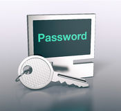 Computer shaped keyring. One computer shaped keyring with text, password 3d render Royalty Free Stock Photos