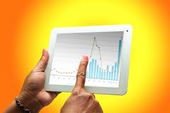 Computer, shares chart. Stock Photos
