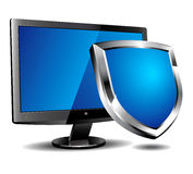 Computer Shield. Computer screen with shield depicting protection Stock Image