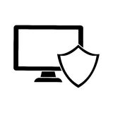 Computer shield server banner icon. Image,  illustration Royalty Free Stock Photos