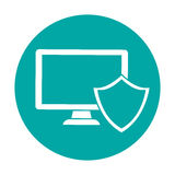 Computer shield server banner icon. Image,  illustration Stock Images