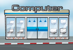 A computer shop. Illustration of a computer shop near the street Stock Illustration