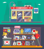 Computer Shop Interior Seller Goods Offer Sale  Icon Flat Design Character City Background Vector Illustration Royalty Free Stock Photography