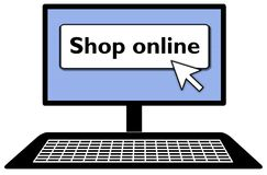 Computer shop online. Illustration of desktop computer screen and keyboard with SHOP ONLINE displayed with mouse pointer Stock Photo