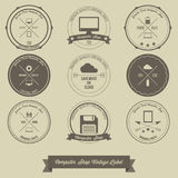 Computer Shop Vintage Label vector illustration
