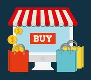 Computer shopping online store market icon. Vector graphic Royalty Free Stock Photo