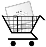 Computer in shopping cart. Shopping cart with computer monitor or screen Royalty Free Stock Photos