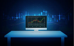 Computer showing stock chart on screen with blue theme. Computer on white table showing stock chart on screen with blue theme background. Illustration about Stock Photo
