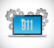 911 computer sign concept illustration. Design over white royalty free illustration