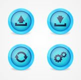 Computer signs on glossy icons Royalty Free Stock Images