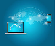 Computer and smart phone cloud computing Stock Image
