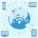 The computer, smartphone, laptop and tablet connected in wifi network with the world map on the background. Royalty Free Stock Image