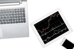 Computer, smartphone and tablet with graph is isolated on transp Royalty Free Stock Images