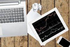 Computer, Smartphone, Tablette mit Diagramm und Papier auf hölzerner Tabelle stockfotografie
