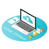 Isometric computer smartphone,upload cloud storage backup anywhere vector royalty free illustration