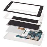Computer smontato della compressa isolato su fondo bianco Fotografie Stock