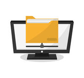 Computer and social media design. Computer and file icon. Social media marketing communication theme. Colorful design. Vector illustration Royalty Free Stock Photography