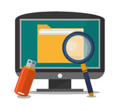Computer and social media design. Computer lupe and file icon. Social media marketing communication theme. Colorful design. Vector illustration Stock Image