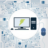 Computer, socket and electronics circuit. Electronics circuit background. Computer with a plug plugged in and lightning symbol on the monitor Stock Photos